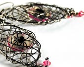 CIJ SALE spider earrings,caught in my web, goth earrings , neon earrings, gifts under 20