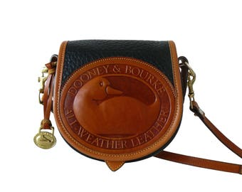 Authentic Dooney & Bourke Big Duck Black Leather Crossbody Shoulder Bag AWL