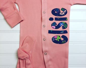 Baby coming home etsy monogrammed footie baby coming home outfit take me home outfit sleeper personalized negle Gallery