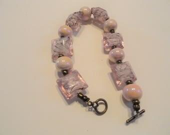 Pink Glass Bracelet with  Purple Swirls