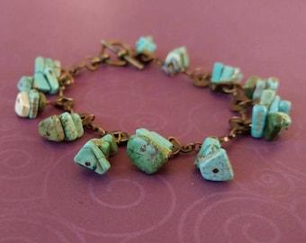 Magnesite Stacked Gemstone Beaded Bracelet on Antiqued Gold Plated Brass