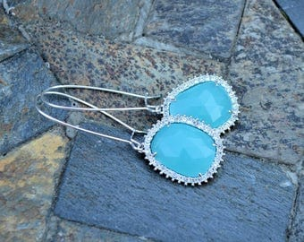 Chic Aqua Bauble Earrings-Something blue, wedding, bridesmaid, gift idea, anniversary, teal earrings, Mother's Day, graduation, birthday