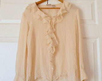Vintage semi sheer SILK oatmeal colored ruffled Blouse