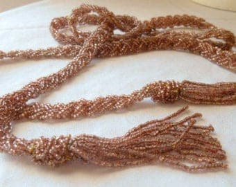 Vintage silver lined seed bead braided lariat Belt