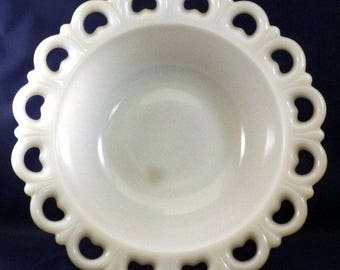 Vintage Anchor Hocking Lace Edge Old Colony Milk Glass Bowl, Discontinued 1976