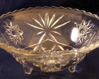 Vintage Anchor Hocking Prescut Clear Glass Bon Bon Footed Bowl, Discontinued 1960