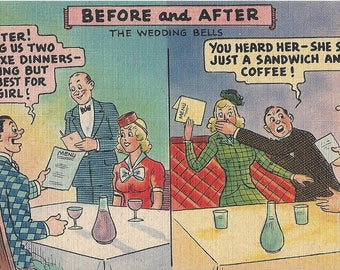 Vintage Tichnor Bros. Before and After The Wedding Bells Comic Lithograph Linen Postcard, 1930-1950