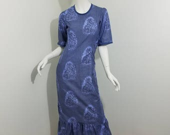 Slim fit African Print dress with pleated bottom- Blue with fruit print (size: US 6)