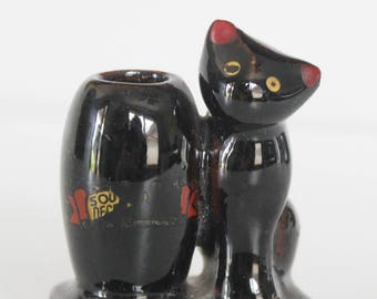 Vintage Ceramic Black Cat Toothpick Holder Vase - Made in Occupied Japan - Souvenir