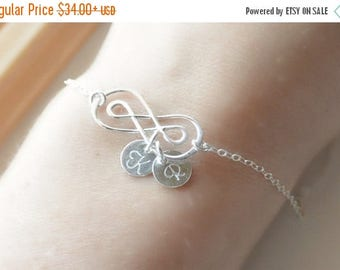 SALE - Double Silver Infinity Personalized Bracelet, 1 2 3 4 5 6 Initial Infinity Bracelet, Infinity Bracelet, Wedding Jewelry, Bridesmaid B
