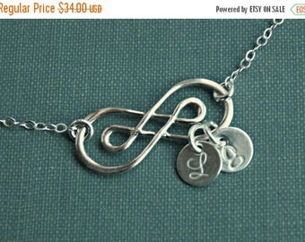 SALE - Personalized Double Infinity Necklace, Sterling SILVER Infinity Necklace, Two Initial Necklace, Mother's Necklace,  Bridesmaid Jewelr