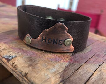 Smaller VA Home ... Virginia shaped metal and leather cuff bracelet