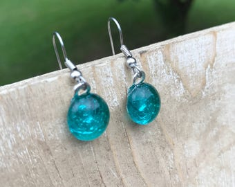 Reclaimed Vintage Teal Glass Insulator dangle Earrings