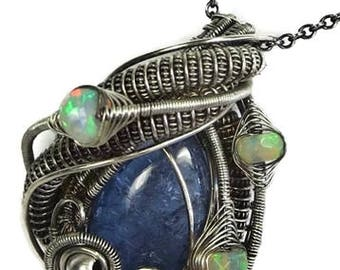 Natural Tanzanite Wire-Wrapped Pendant in Antiqued Sterling Silver with Ethiopian Welo Opals