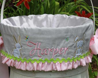 Easter basket liners etsy girls easter basket and liner personalized with bunny applique basket is included usa made negle Images