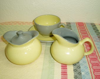 Harkerware Golden Dawn Cream, Sugar, Cup and Saucer