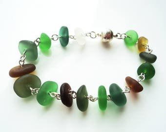 Seaham Sea Glass Green Bracelet made in sterling silver - E1780 - from Seaham, UK