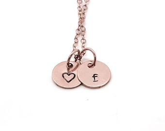 Personalized Heart Necklace, Rose Gold, Letter F Necklace, All Letters Available, Hand Stamped Jewelry, Initial Necklace, Mother's Necklace