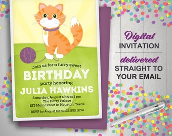 Cat Invitation, Cat Birthday Invitation, Kitty Invite, Kitty Cat Party, Printable Invitation, Orange Cat, Kids Birthday Invite