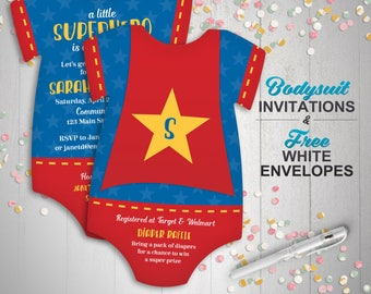 10 Superhero Baby Shower Invitations, Superhero cape -- bodysuit Die Cut shaped -- Double sided in any colors