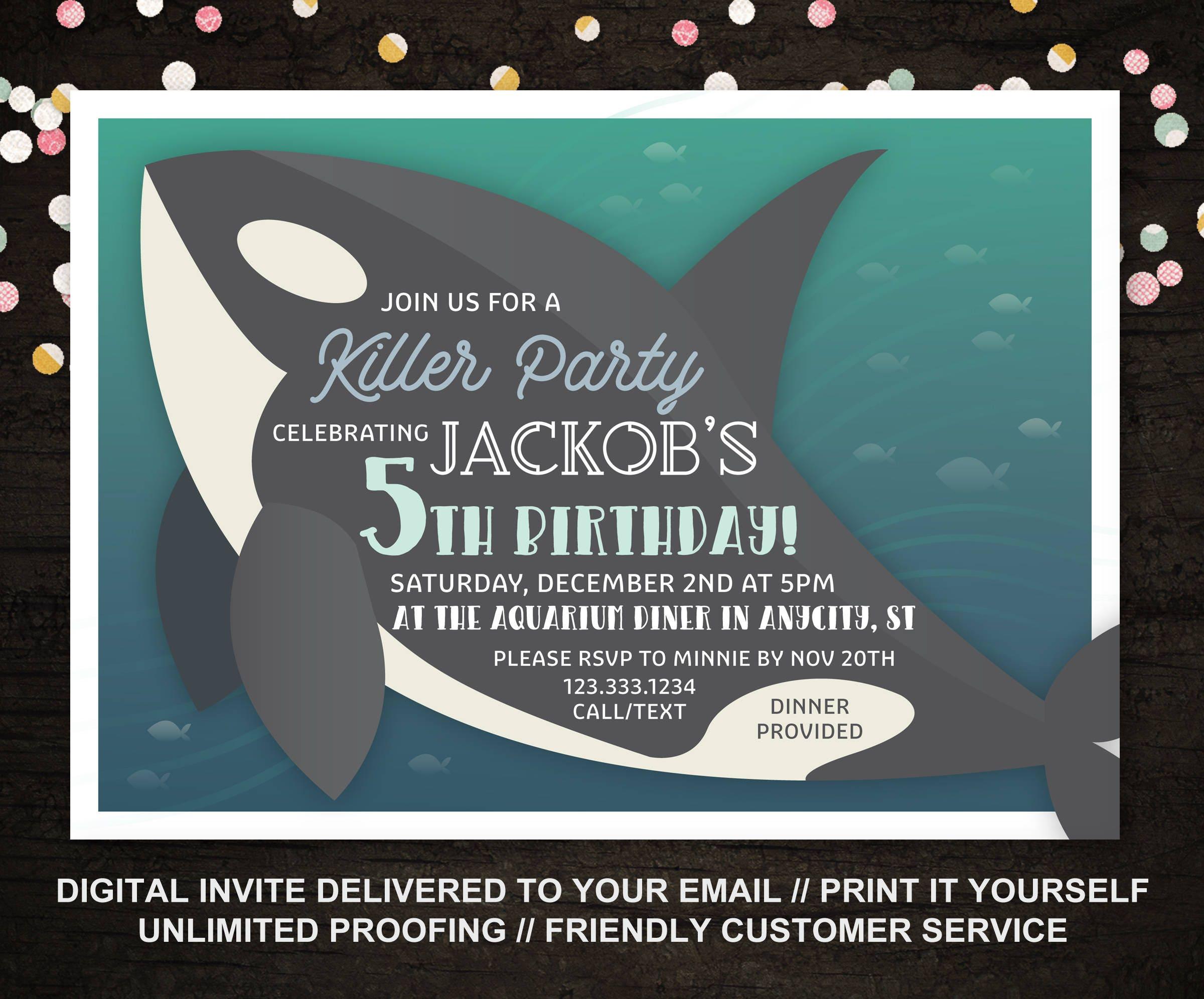 Killer Whale Birthday Invitation Ocean Invitation Boys