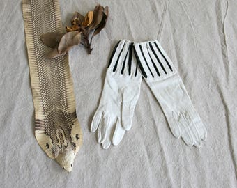 Antique White and Black Formal Leather Gloves with Elastic Wrists , Marie Antoinette Style, Theatre , Women's Small