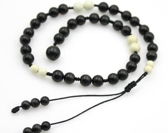 8mm Obsidian Gem Tibet Buddhist Prayer Beads Mala Bracelet Natural Gem  S025