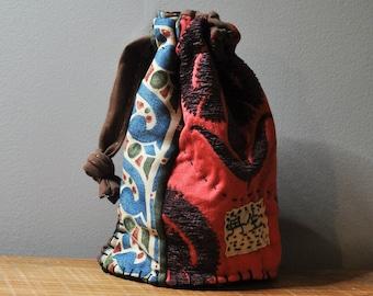 Boho Upcycled Handbag/Sashiko Kanji Patchwork Purse/Drawstring Bag