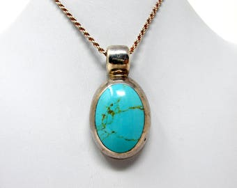 Vintage Sterling Silver Turquoise Pendant Made in Mexico 18 Inch Chain 20 Grams