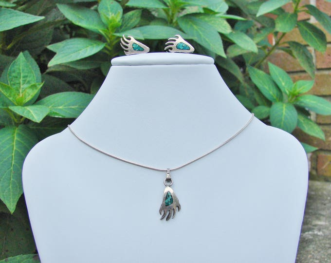Sterling Silver Turquoise Inlay Bear Claw Pendant Matching Earrings