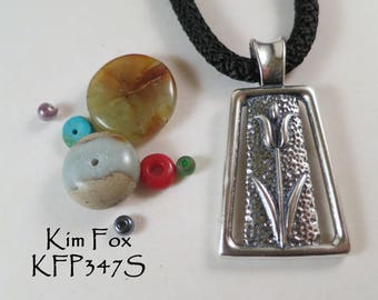 Tulip Pendant with large bail in Sterling Silver designed by Kim Fox 1 3/4 by one inch in size