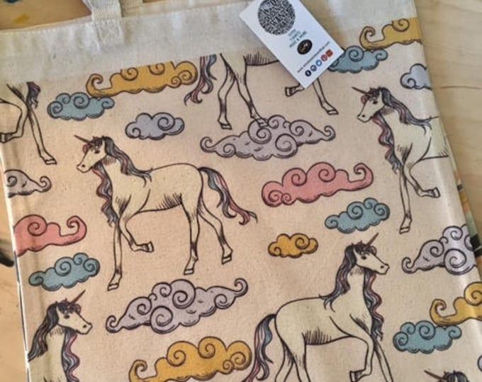 Unicorn Tote Bag, Canvas Unicorn Bag, Unicorn Book Bag, Girls Tote Bag