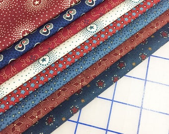 8 Civil War Repro Quilt Fabric Fat Quarters ~ Red White Blue ~ STAR SPANGLED LIBERTY & Americana ~ P Buda Marcus - C Quinn for Penny Rose