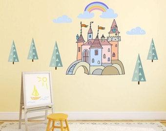 Castle Wall Decals, Fairytale Castle Decor, Princess Castle Decal, Girls  Room Decor,