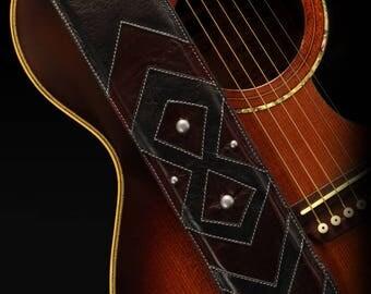 Custom Leather Guitar Strap:  Battleheart Guitar Strap