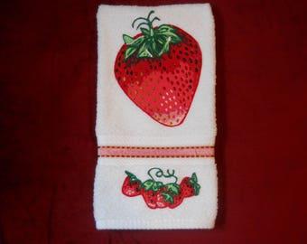 Strawberry Hand Towel, Strawberry Kitchen Hand Towel, Strawberry Bathroom Hand Towel, Appliqued Strawberry Towel, Hand Painted  Towel