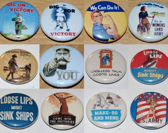 WWII Replica Posters (Various Designs) Badge 25mm / 1 inch