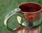 Hand Made Coffee Mug, Halloween Mug, Metallic Pottery Mug, Dragon Mug, Christmas Gift, Large Hand Made, Medieval Mug, Rustic Pottery, Silver