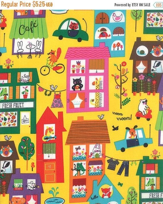 On sale moda children 39 s fabric hello friend happy town for Childrens fabric sale