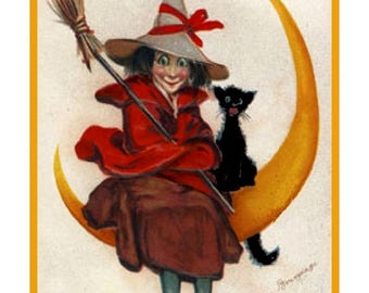 GREAT SALE Digital DOWNLOAD Witch Sitting on Moon With Black Cat Vintage Halloween Counted Cross Stitch Chart / Pattern