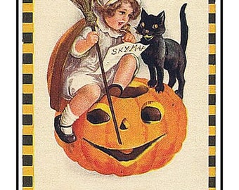 SUMMER SALE Digital DOWNLOAD Girl on a Pumpkin with a Black Cat Vintage Halloween Counted Cross Stitch Chart / Pattern