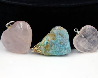 Trio of Semi-Precious Stone Pendants, Rose Quartz and Turquoise Colored Stone, ca. 1980s to 1990s