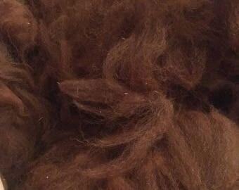 Raw Alpaca Brown Fleece 4 or 6oz Spinning Fiber from Colorado Alpacas
