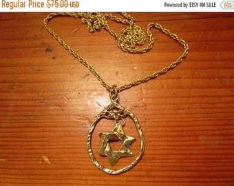 Awesome Artisan STAR Of DAVID Double CHARM Pendant Necklace in Gold Bronze, Hanging From a Gold-Filled, Long Rope Chain