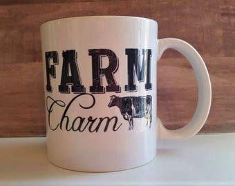 Farm charm mug,Hot chocolate mug, Farm animal mug, sheep mug, cow mug