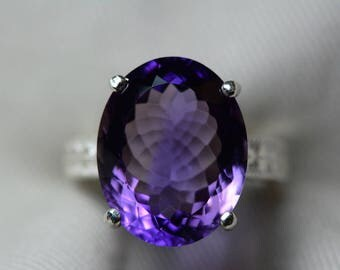 Amethyst Ring, Certified 13.95 Carat Amethyst Ring Appraised At 700.00 Sterling Silver Size 7, February Birthstone, Purple, Oval Cut