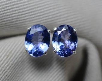 Tanzanite Earrings, 3.67 Carat Tanzanite Stud Earrings, Oval Cut, Sterling Silver, IGI Certified, Genuine Real Natural Tanzanite Jewelry