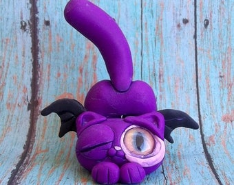 Winking Willameanie  the Cat Bat, Polymer clay,figurine,original art,sculpture,ring holder,collectible,Covington creations