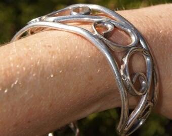 Modern Taxco Silver Cuff Bracelet-Boho Chic