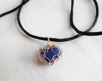 Blue Sea Glass Heart Necklace, Wirecrochet Rose Gold, Gold Bezel Seaglass, Lake Michigan Beachglass, Unique Jewelry, Handmade, Cobalt